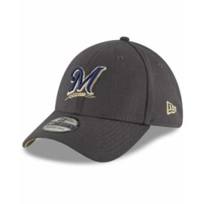 ニューエラ メンズ 帽子 アクセサリー Milwaukee Brewers Charcoal Classic 39THIRTY Cap Charcoal