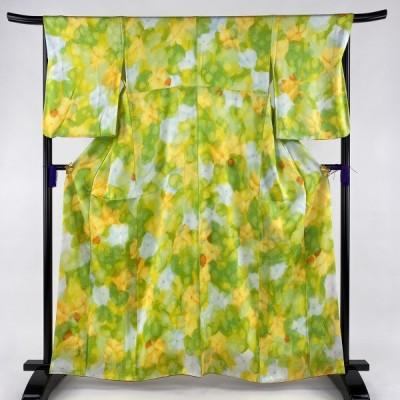 小紋 優品 花 黄緑色 袷 身丈160cm 裄丈67cm M 正絹 【中古】 PK30