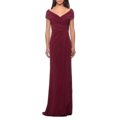 ラフェム レディース ワンピース トップス Short-Sleeve Ruched Jersey Gown Dress