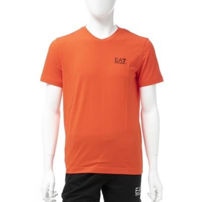 アルマーニ エンポリオアルマーニ Emporio Armani EA7 Tシャツ 半袖 Vネック メンズ 3GPT53 PJM5Z オレンジ