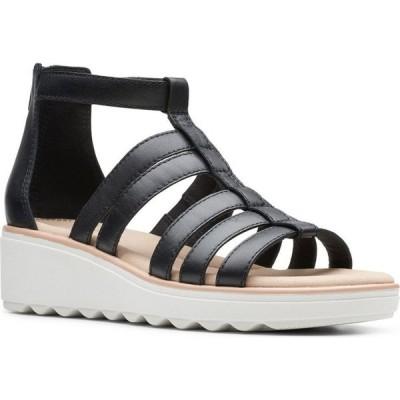 クラークス Clarks レディース サンダル・ミュール ウェッジソール シューズ・靴 Collection Jillian Nina Wedge Sandals Black Leather