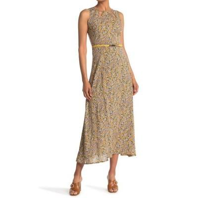 パピロン レディース ワンピース トップス Floral Belted Sleeveless Maxi Dress YELLOW