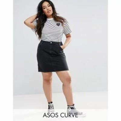 エイソス その他スカート ASOS CURVE Denim Original High Waisted Skirt in Washed Black Black