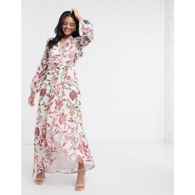 ホープ&アイビー Hope & Ivy レディース ワンピース ラップドレス wrap front maxi dress with lace neckline in floral print グレーフローラル