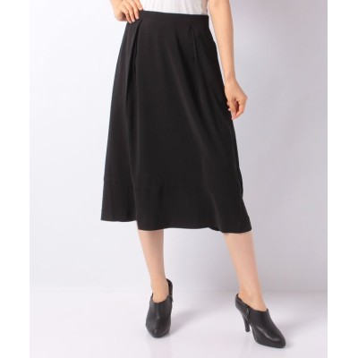 【メルローズ クレール】 ツイルジョーゼット裾切替えタックフレアスカート レディース ブラック 2 MELROSE Claire