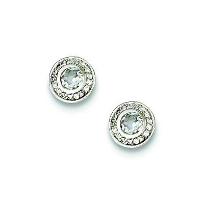スターリング シルバー Cubic Zirconia Post Earrings(海外取寄せ品)