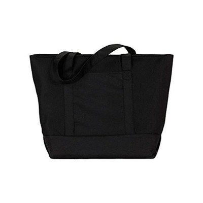 UltraClub Zippered Polyester Tote Bag - Black/ Black