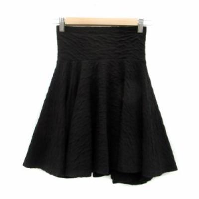 【中古】ノエラ Noela スカート フレア ひざ丈 総柄 9 ブラック 黒 /MS9 レディース