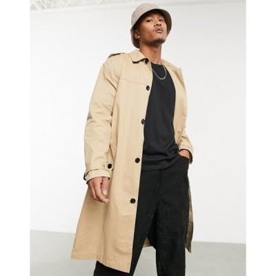 エイソス メンズ コート アウター ASOS DESIGN lightweight single breasted trench coat in camel