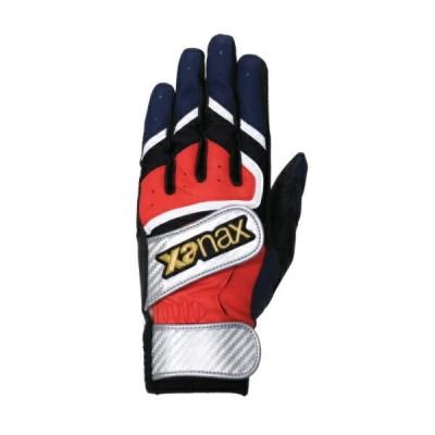 【メール便OK】ザナックス XANAX バッティング手袋 ダブルベルト 両手 野球 ベースボール バッティンググローブ BBG-93-2350【取寄X】レッドxネイビー[2350]
