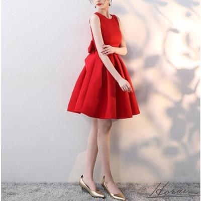 ノースリーブ バックリボン バックコンシャス タックフレア ひざ上丈 華やか 上品 ドレス 結婚式 お呼ばれ パーティードレス ワンピース