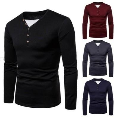 長袖Tシャツ メンズ 無地 トップス KL 切り替え インナー ロングスリーブ 男性 ボタン付き ストレッチ フィット