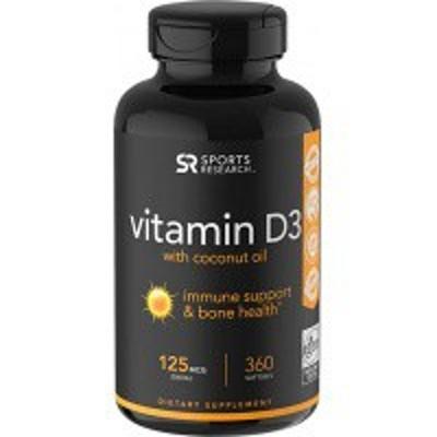 ●Sports Research Vitamin D3 with Coconut Oil 5000IU 360粒