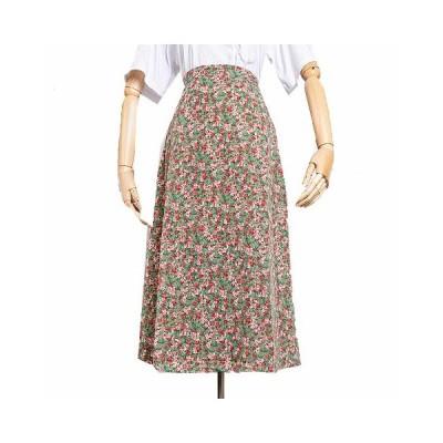 レディースタイトスカート チュール ミモレ丈 着痩せ 爽やか カラフル 花柄 小柄 可愛い 田園風 自然 ナチュラル ふんわり 柔らかい ゴムウエスト