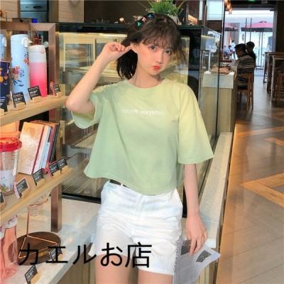 半袖Tシャツ短袖Tシャツ半袖/スパンコールT-shirt ティシャツレディーストップススウェット韓国風カジュアル刺繍エレガント きれいめ 半袖/カットソー