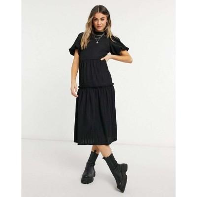 ミスセルフリッジ マキシドレス レディース Miss Selfridge tiered midi dress in black エイソス ASOS ブラック 黒