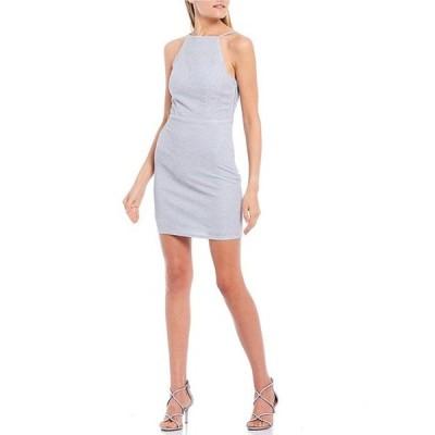 シティヴァイブ レディース ワンピース トップス Spaghetti Strap Glitter Knit Lace-up Back Sheath Dress