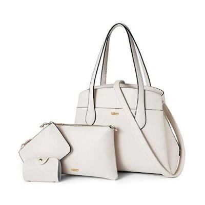 TIBES Women Handbags PU Leather Shoulder Bags Purses Card Holder 4pcs Bags Set Tote for Ladies White【並行輸入品】