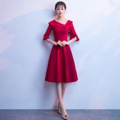 パーティードレス 演奏会 韓国 ミモレ丈 半袖 ナイトドレス ファスナータイプ 小さいサイズ 大きいサイズ 舞踏会 披露宴 司会者 20代 30