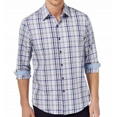 Plaid  ファッション アウター Tasso Elba NEW Blue Mens Size Medium M Plaid Print Button Down Shirt