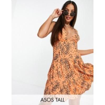 エイソス レディース ワンピース トップス ASOS DESIGN tall tiered beach dress in crinkle orange spot print Orange spot