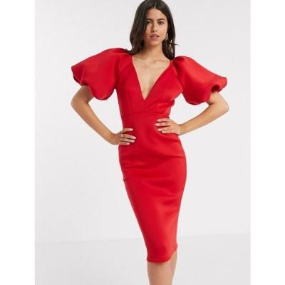 トゥルーヴァイオレット True Violet レディース ワンピース ミドル丈 ワンピース・ドレス exclusive plunge balloon sleeve midi dress in red レッド
