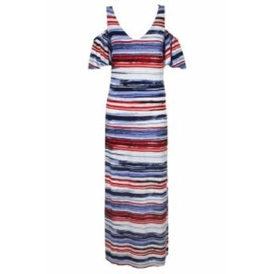Nine West ナインウエスト ファッション ドレス Nine west blue red striped short sleeve cold-shoulder maxi dress 16