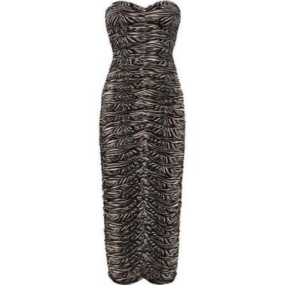ノーマ カマリ Norma Kamali レディース パーティードレス ワンピース・ドレス Ruched zebra-print jersey dress Black