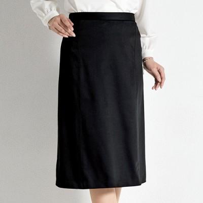 ベルーナ 黒があせにくい!美人シルエットスカート 黒 L レディース