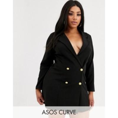 エイソス レディース ジャケット・ブルゾン アウター ASOS DESIGN Curve glam double breasted jersey blazer Black