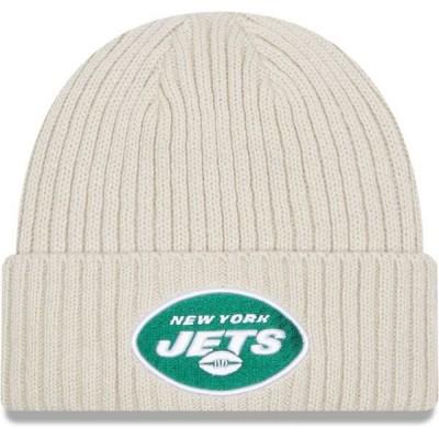 ニューエラ メンズ 帽子 アクセサリー New Era Men's New York Jets Core Cuffed Knit White Beanie