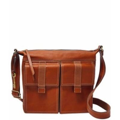 フォッシル レディース ショルダーバッグ バッグ Cargo Leather Zipper Crossbody Bag Brandy