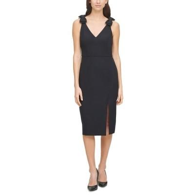 エリザジェイ ワンピース トップス レディース Bow-Trim Sheath Dress Black