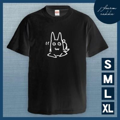 Tシャツ ウサギ メンズ レディース おしゃれ 半袖 うさぎ 兎 おもしろ 綿100% 大きいサイズ カジュアル xl  黒 夏 黒 ブラック