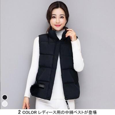 レディース 中綿ベスト 女性用 中綿 ベスト アウター 秋冬物 トップス ポケット付き 着まわし ポンポン