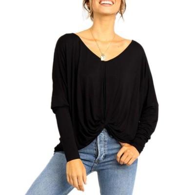 レディース 衣類 トップス Women's Batwing Long Sleeve Loose V Neck Casual Loose Baggy Blouse ブラウス&シャツ