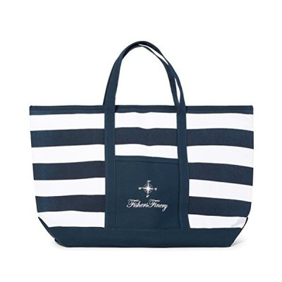 Fishers Finery Blue Beach Bag Travel Tote Bag for Women Lady Bag (Navy, XL)【並行輸入品】