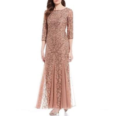 ピサッロナイツ レディース ワンピース トップス Petite 3/4 Sleeve Beaded Lace Gown