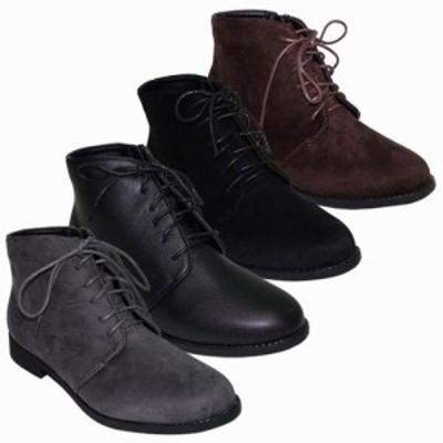 ブーツ レディースシューズ レディースファッション 靴 秋冬 シンプル レースアップ フラット ショートブーツ 超軽量 デイリーに 幅広め
