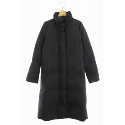 【中古】ヒューゴボス HUGO BOSS 中綿コート ロング スタンドカラー 42 L 黒 ブラック /☆K レディース