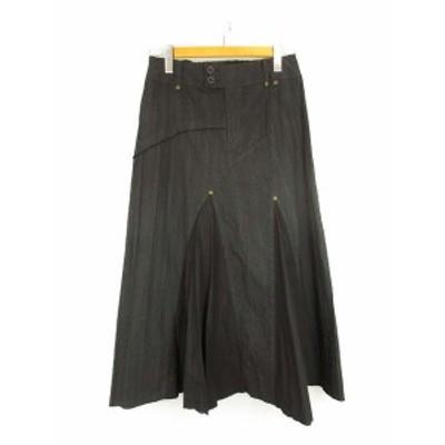 【中古】LADUREE ラデュレ 切りっぱなし カットオフ アシンメトリー デザイン ロング スカート フレア ストライプ 黒