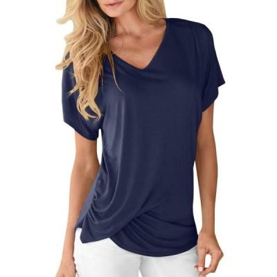 レディース 衣類 トップス Women Fashion V Neck Short Sleeve T-shirt ブラウス&シャツ