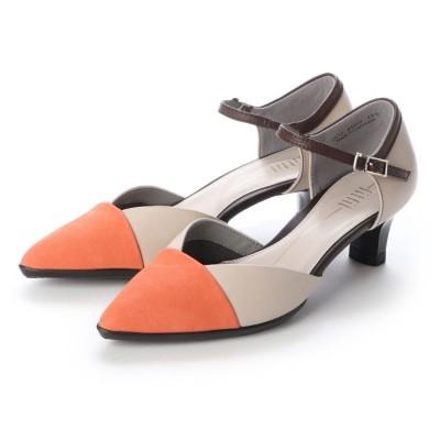 フィットフィット fitfit セパレートポインテッドヒールニーカー (オレンジ×ベージュ)