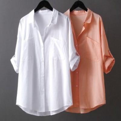 シャツ ブラウス トップス 無地 半袖 シンプル レディース ゆったり 薄手 春 夏 羽織り