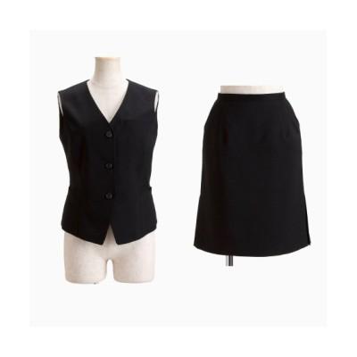 【事務服。ベストスーツ】2点セット(ベスト+タイトスカート)(丈58cm) (大きいサイズレディース)事務服, women's suits,  plus size women's suits