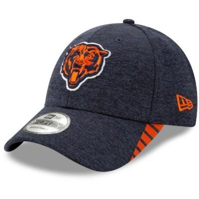 ユニセックス スポーツリーグ フットボール Chicago Bears New Era Visor Trim 9FORTY Adjustable Hat - Heathered Navy - OSFA 帽子