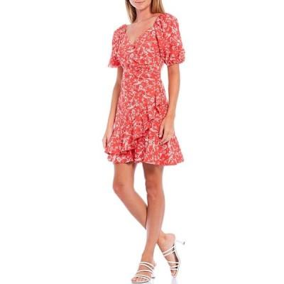 サーチンアンドバビ レディース ワンピース トップス Catherine Puff Sleeve Ruffle Hem Faux Wrap Mini Dress Coral/Ivory