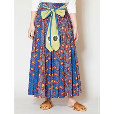 【チャイハネ】アフリカ・キテンゲ柄リボンロングスカート ブルー