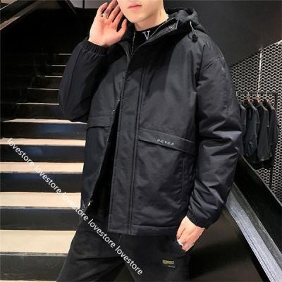 中綿ジャケット メンズ 冬用 作業着 ダウンジャケット ゆったり 超軽量 おおきいサイズ 韓国 光沢 かっこいい プリント トップス 厚手