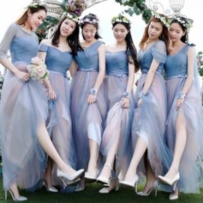 パーティードレス ロング丈 結婚式 パーティードレス 袖あり ロング パーティードレス 結婚式 レース ワンピース レース ロングドレス 結